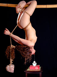 The Master hung the girl upside down with a large stone on a rope and ordered her to make tea for him
